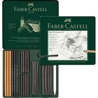 #112978 Faber Castell Tin of 24 Pitt Charcoal Pencil Set Artists Art Collection