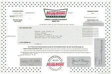 Krispy Kreme Doughnuts stock certificate