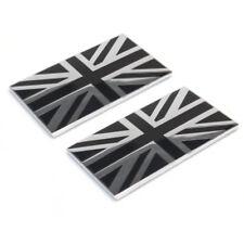 2 38mm Small Metal Enamel Black & Chrome Union Jack Flag Badge Self Adhesive