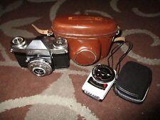 Zeiss Ikon Contaflex 35mm SLR Camera w/ 45mm Lens + Case + Capital TK79 Meter