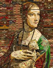 Art Collage Poster Lady With An Ermine Print Made Out Of Cigar Bands Recycling