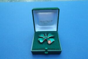 DAVID-ANDERSEN NORWAY STERLING FOUR-LEAF CLOVER & LADY BUG BROOCH(in box)