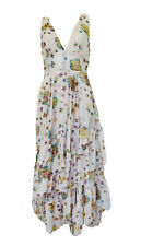 Free People Anthropologie Floral Crepe Plunge Boho Tier Ruffle Maxi Dress Size S
