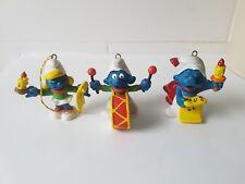 Rare Smurf Figures - Christmas Smurfs. Carols and Drums. 3 Smurfs