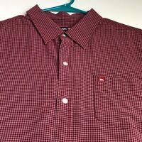 Tony Hawk Men's Short Sleeve Button Up Shirt Large L Red Multicolor Plaid Pocket