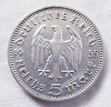 GERMAN COIN 1935 5 MARK SILVER Third Reich extra fine  5 Reichsmark