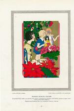 Florist mailer Children Christmas nature scene 1927 vintage Art Deco color print