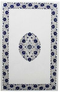 3'x2' White Marble Dining Table Top Lapis Marquetry Floral Inlay Home Decor W480