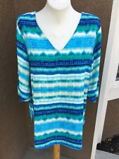New Chico's Waterside Striped Blue Green White Tunic Top Size 3 = XL 16 18 NWT