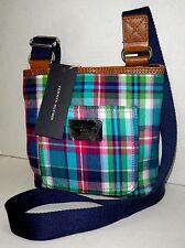 NWT TOMMY HILFIGER Fabric Crossbody Handbag Small Shoulder Bag Purse PLAID BLUE