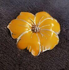 Vtg Pansy Enamel Goldtone Yellow Flower Brooch statement