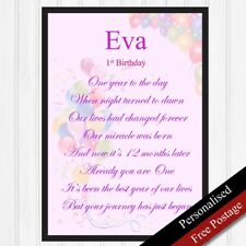 1st Birthday Girls Personalised Gifts. First Gifts Keepsake Baby PRINT ONLY