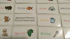 26 Alphabet Phonics Multi colored flash cards.  Preschool letter and picture lea