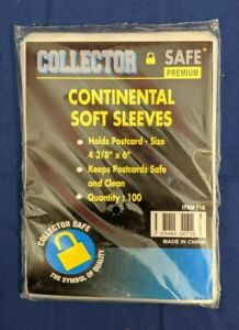 """Postcard Post Card Sleeves Collector Safe Continental 4 3/8""""x6"""" 100 Count Pack"""