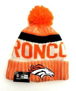 Denver Broncos NFL New Era Cuffed Pom Knit Beanie Winter Cap Orange/White OSFM