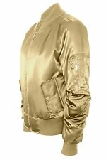 Women Ladies Satin Padded Bomber Ma1 Military Jacket Army Winter Thick Coat 8-14 UK S (10) Gold