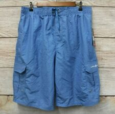 Beverly Hills Polo Club Mens Large Blue Polka Dot Cargo Swim Trunk Short New