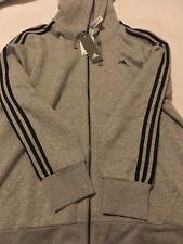adidas 3 stripe hoody clear grey