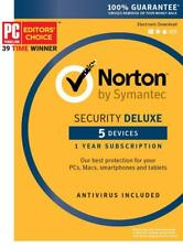 Symantec Norton Security Deluxe 3.0 Antivirus 5 Devices PC/Mac/Phone Key Card