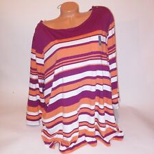 Basic Editions Womens Blouse Striped Pink Orange XXL 3/4 Sleeve