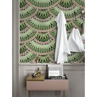 Removable wallpaper Floral Herringbone Green leaves with pink flowers Pattern