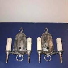 Wired Pair Virden Antique Two Arm Sconces Hammered Fixtures 62D