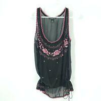 VIVIENNE TAM 4 Silk Sheer Embroidered Floral Blouse Tank Drawstring Mesh