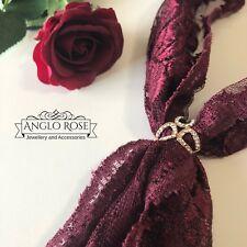 Women Silk Scarf Buckle Gold Plated/Rhinestone 3 Ring Garland Brooch Gift New AU