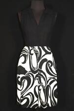Raro Vintage Francés 597mS-EARLY 600mS Blanco y Negro Poliéster Vestido de Punto