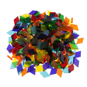 Colored Mosaic Tiles - 250Pcs Stained Glass Clear Rhombus Mosaic Tile Supplies