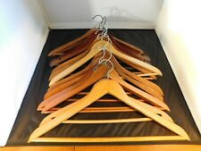 13  Wooden Curved Clothes Hangers Jackets Suits Pants