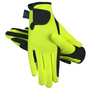 Equestrian Horse Riding Gloves LADIES Synthetic Leather Stretch Fluorescent
