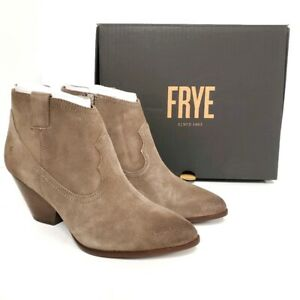 NEW Frye Reina Taupe Suede Western Ankle Bootie Boots BROWN TONES Womens Size 7M