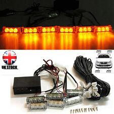 Car 12V 6 Amber LED Flashing Grill Lights Bar Strobes Warning Recovery Breakdown
