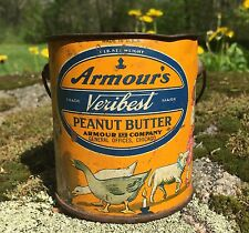 Vintage Armours Veribest Peanut Butter 1 Lb Advertising Tin Can Great  Graphics