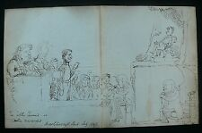 Marlborough St. Police Court 1847 Original Pen & Ink Caricature By John Paget?