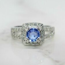 18ct White Gold Ceylon Sapphire and Diamond Cluster Ring (Size M, US 6 1/4)
