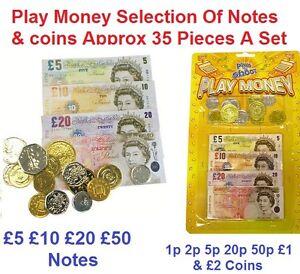 Play Money For Kids Till Pretend Toy Shop Game Cash Notes Coins Pocket Children