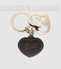 GUCCI gold-tone LOVELY Interlocking G HEART Leather KEY CHAIN Ring NIB Authentic