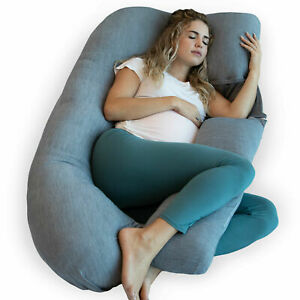 PharMeDoc U-Shaped Pregnancy Pillow with Cooling Cover for Pregnant Women
