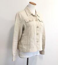 Charter Club Petite Natural Linen Jacket Lightweight Unlined Womens Sz M Petite