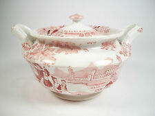 DAWSON'S - PHILAMMON - Red Transferware Sugar Bowl with Lid - UK - 19th Century