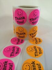 """60 THANK YOU SMILEY 2"""" PINK ORANGE NEON BEST PRICE THANK YOU LABELS 2"""" SHIPPING"""