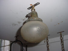 As Found Antique Pendulum Light Fixture with Cut Glass Oval Frosted Shade 5613