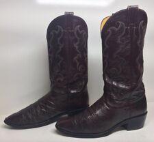 #I Mens Nocona Cowboy Ostrich Skin Burgundy Boots Size 9.5 B