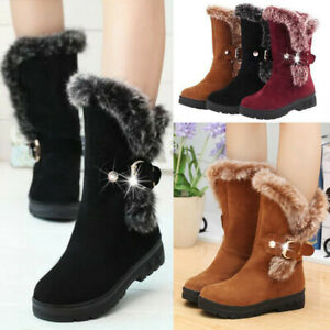Winter Women Ladies Snow Boots Fashion Fur Warm Buckle Casual Mid Calf Shoes US