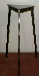 HAND FORGED IRON TRIANGLE MODERN SIDE END TABLE NYC ARTIST WILL STONE WAVY LEGS