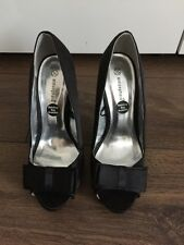 Atmosphere black silk style bow peep toe heels size 5 New Christmas party