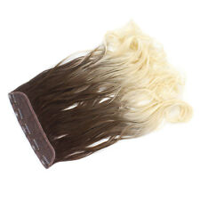 "22"" Clip In ONE PIECE WAVY CURLY Light Brown/Bleach Blonde Ombre 1pc 120g"