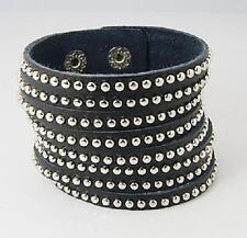 stylisches Armband Wickeleffekt Leder schwarz Nieten Bracelet Surferarmband